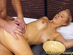 hot big butt blonde babe in a slippery nuru massage with happy end