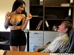 Bella is a barely legal young woman with small breasts and a very inviting mouth. She's known for a while that he was hot for her, but she was only waiting to figure out, what she could get out of the whole deal. After she does, she gives him a treat, by dropping to her knees and sucking his dick.