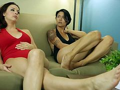 Dana Vespoli in black and Сhanel Preston and red show off their sexy legs and lovely feet as they talk on the couch. Their bare feet will make you cream your pants.