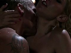 Aaliyah Love is having a romantic evening with her boyfriend. They are in the pool and they are making love. The blonde pornstars looks very pretty in this scene.