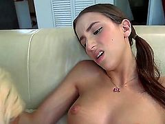 A lucky guy has his fantasy come true. He gets to fuck both his GF and her stepmom in a threesome. They are having a lot of fun on the sofa.