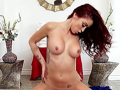 Monique Alexander is a redhead that is celebrating her wedding anniversary with her husband. She is shaking her huge ass for the man and gives him the attention he deserves.