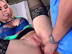 Mick is at the doctors office with his GF. The doctor is showing the couple the proper way to do an anal gangbang. Mick is really happy with her treatment.