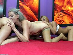 Birgitta may be well on in her years, but her desire for sex has not dwindled one bit, since desire first came upon her a long time ago. She has two young lovers in the room with her, so the pussy licking festivities begin, bringing release to each of them. Watch this trio of women getting very personal.