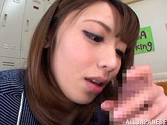 The teacher suspected that Ayu was up to something, so he made her show what she had hiding in her panties. It was vibrating sex toy. Instead of punishing her, he offers her a deal. If she gives him a handjob, she won't have to go to detention. She agrees and sucks him off, and kisses him.