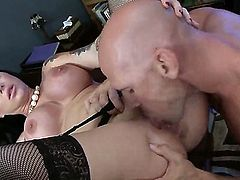 Darling Danika is getting tested by her boss, Johnny Sins. He likes to find out how his employees act under pressure. The huge tits milf likes rough sex.