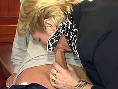 German Blonde Grandma gets a hardcore fuck on the desk