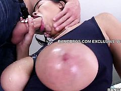 Brunette Cassidy Banks with massive tits and shaved cunt rubs guys love torpedo so that he moans and groans