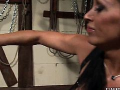 Brunette Mandy Bright with big jugs shows off her sexy body as she gets tongue fucked by lesbian Bijou