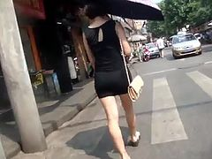 good buttocks lady with umbrella