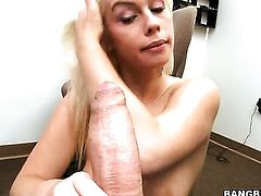 Blonde Tara Lynn Foxx with round ass cant live a day without taking sturdy rod in her hands