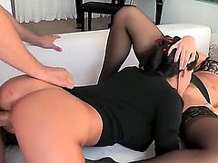 Anikka and Peta  are two lovely girls that are both into dicks and pussy. In this video they get their fill of both in a threesome with a  guy. See their asses shaking.