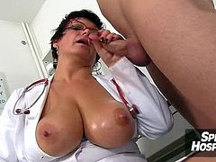 Tit fuck with giant tits milf doctor Silvy Vee