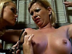 Blonde Kathia Nobili with giant breasts is in sexual ecstasy with Pamela