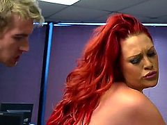 Paige Delight gets a visit from her boyfriend while she is working in the office. He surprises her when he whips out his dick. She gets to have sex in office.