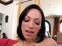 Brunette honey Charlie Anne with juicy booty squeezes the juice out of tool with her skilled hands