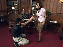 Hot Jasmine Byrne playthings the chap inside Her Office And