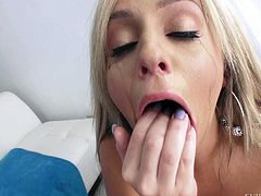 Blonde Madelyn Monroe in barely there pink bra shows her natural tits while giving a deep throat blowjob from your perspective. She loves his delicious sausage. Madelyn Monroe is just another cock hungry slut.