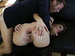 Rocco Siffredi makes his erect schlong disappear in lustful Milla Yuls butt