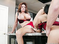 Gulliana Alexis with round ass and bald snatch keeps her legs apart to be slammed over and over again by Johnny Castle