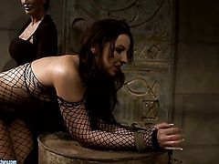 Brunette Mandy Bright with gigantic breasts and Maria Bellucci make lesbian love