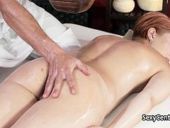 Redhead milf got massage and orgasm