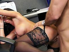 Lezley Zen is a milf with huge tits that is angry with her employee for being late. She makes sure that he is not late any more by having sex with him.