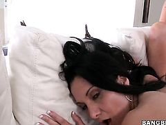 Brunette latin gets her lesbian pussy licked out by Abbey Brooks the way she loves it