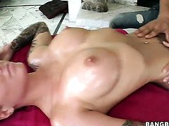 Christy Mack with huge boobs and shaved bush gets her nice face painted with cream after sex with horny guy