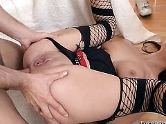 Angel Rivas plays with Omar Galantis stiff rod before she takes it in her mouth after she gets fucked in her ass