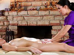 Megan is young, but she's very good with her hands. She massages Karlie's body so well, that she is thinking, just how many tip to give to her talented masseuse. Her calculations really go up, when Megan slides her tongue between her lower lips, tasting her juices and causing her to make a lot more.