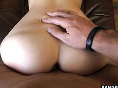 Blonde with bubbly booty shows off her hard clit as she gets slammed