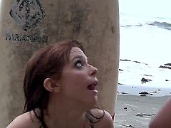 Penny Pax likes to spend her summers at the beach. There she meets a guy and has her summertime crush. Watch her as she gives him a blow job and fucks him.