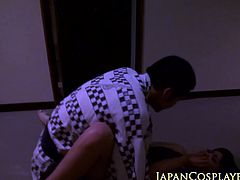 Japanese babe jerking in group