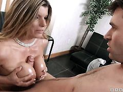 Kristal Summers with big jugs finds herself getting slammed by James Deen