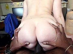 There is nothing as magical as a huge black cock to suck. Lola knows that, and so she goes over to see her favorite coworker. The curvy, dark haired vixen licks his shaft and chokes of his cock, before riding that black monster.