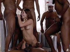 L3eah G0tti in Interracial Gangbang