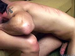 This blonde is perfectly happy to give oral sex to her BF on camera