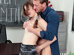 Jay's getting bad grades at school since she got a new teacher. It's because she's having a hard time concentrating. She was distracted by his hotness. She could not take it any longer. She intentionally got herself into detention, so that she could be alone with this hunk. Watch what happened!