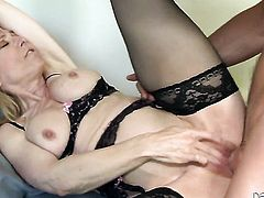Nina Hartley with huge boobs wants this blowjob session with hard dicked fuck buddy to last forever
