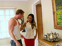 Ryan is hot and frustrated from the work that he's doing, along with all the other stuff he's got on his mind. His thoughts focus solely on Nadia now, who kneels before him and starts sucking his cock. He appreciates her oral art more, than the stuff she showed him. She's really good at head.