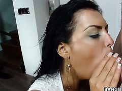 Girl is giving a blow job