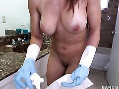Huge tits maid is cleaning her room