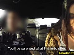 British babe pussypounded outdoors by cop