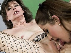 Brunette Judyt cant resist the temptation to have sensual lesbians sex with gorgeous Nicole Sweet