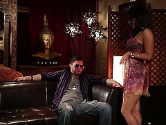 Asa Akira gagging on hard meat stick of hot fellow