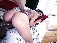 Small Latina gives a blow job