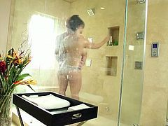 Wonderful big breasted black haired MILF gives handjob and BJ in shower