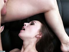 Brunette Lily Cat gives unbelievable oral pleasure to horny guy by sucking his ram rod