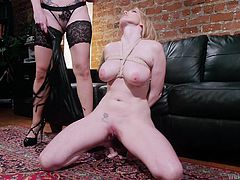 Veruca James loves to be in dominating position and she was ordered to teach Christie Stevens a lesson, that she will never forget. After undressing, Veruca James punished her by whipping on her boobs, pussy and ass. The punishment session ended with lesbian action.